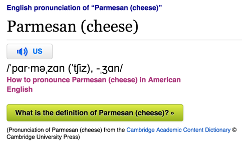 Parmesan pronunciation audio