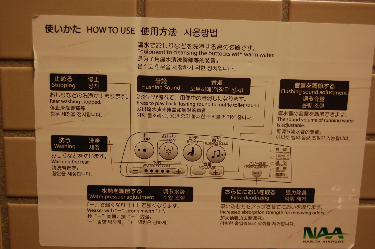 Language Log » Quadrilingual Washlet Instructions