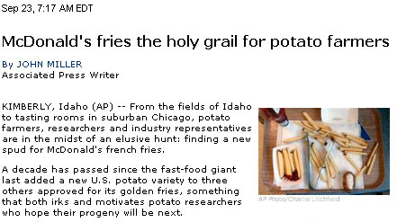 McDonald's fries the holy grail for potato farmers
